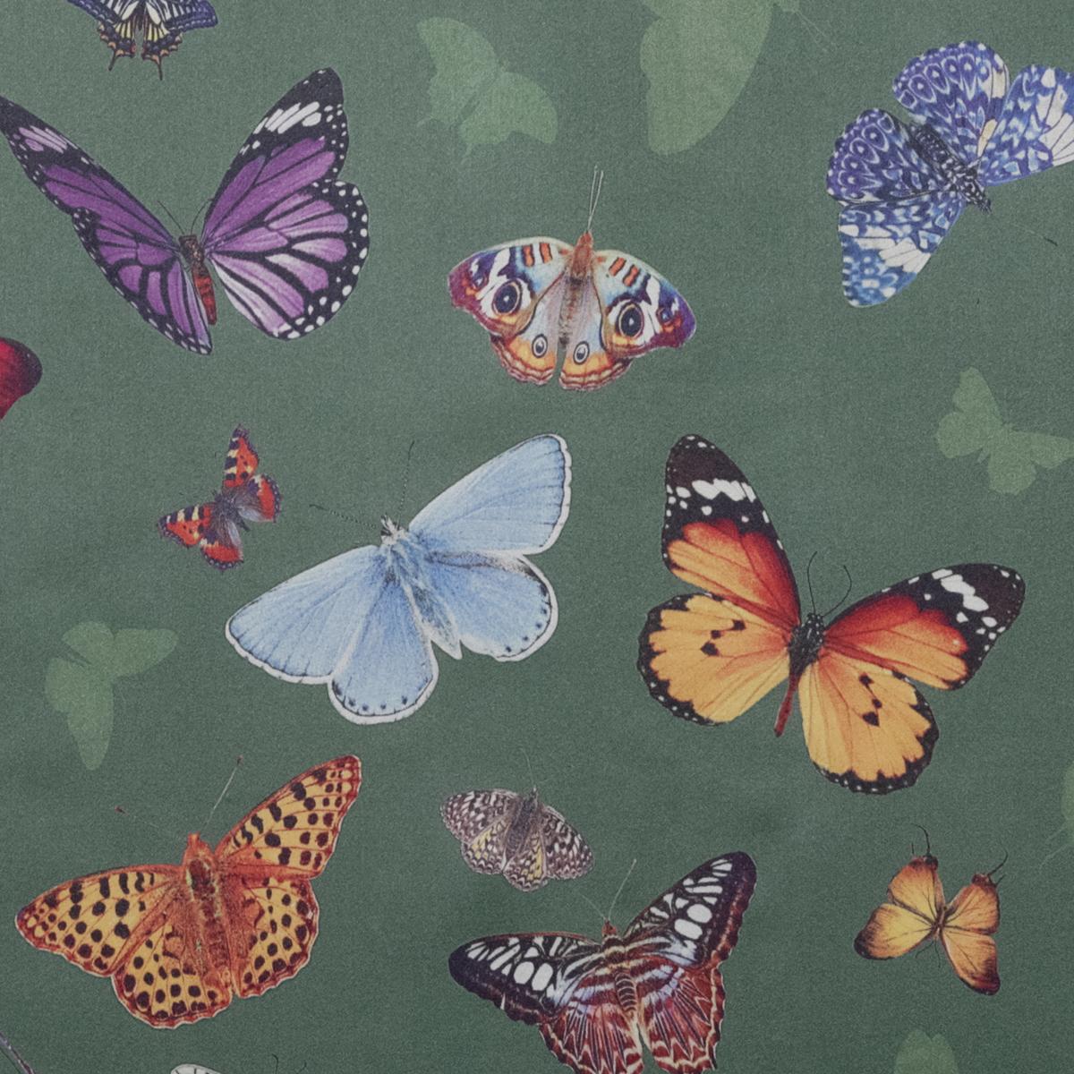 Шёлковый атлас зелёного цвета с бабочками