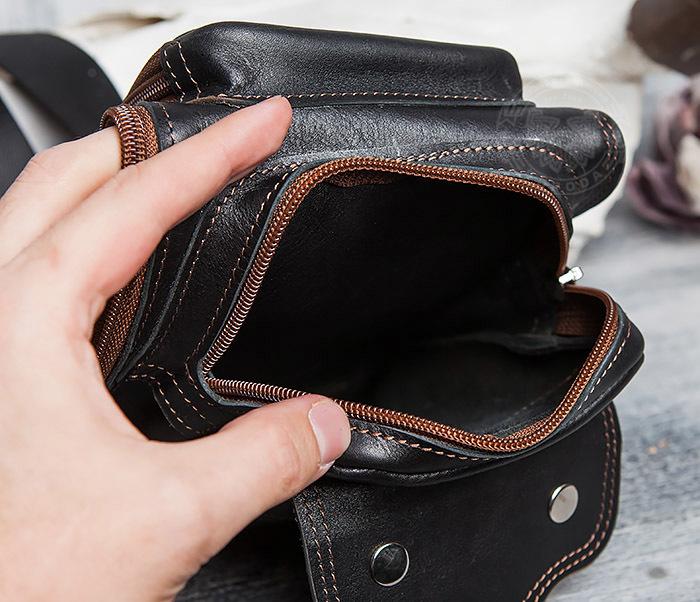 BAG415-1 Крутая мужская сумка рюкзак с одной лямкой, ручная работа фото 06