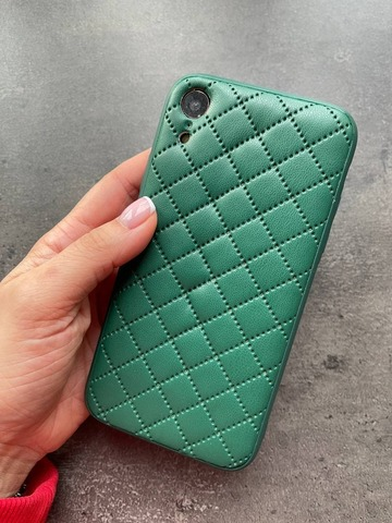 Чехол iPhone XR Quilted Leather case /green/