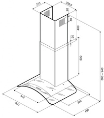 Вытяжка Kronasteel Sabrina PB 600 inox/glass - схема