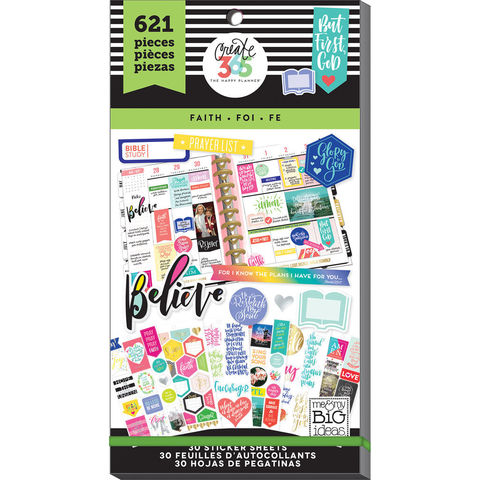 Блокнот со стикерами для ежедневника Create 365 Happy Planner Sticker Value Pack- Classic Faith. 621 шт