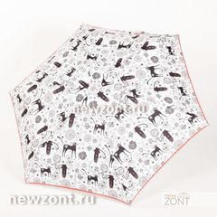 Плоский карманный белый зонт NEX с черными рисованными кошками