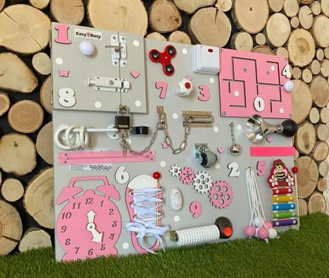 Бизиборд стандарт 50х65 см с ксилофоном Розовый для девочки