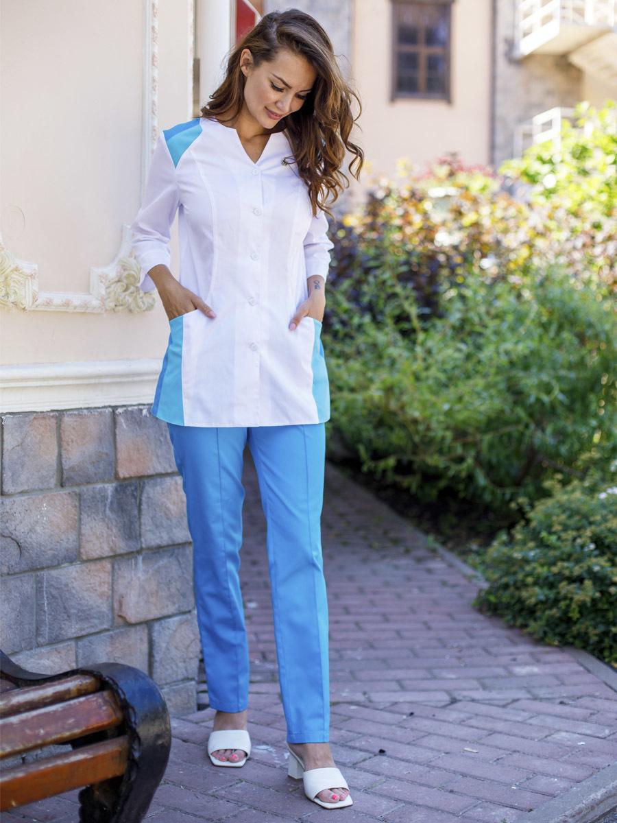 Бирюзовые женские медицинские брюки Б-110 сатори MediS.moda