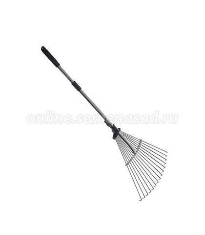 Грабли веерные 15зуб. раздвижные с телескопической ручкой (GD-15523)