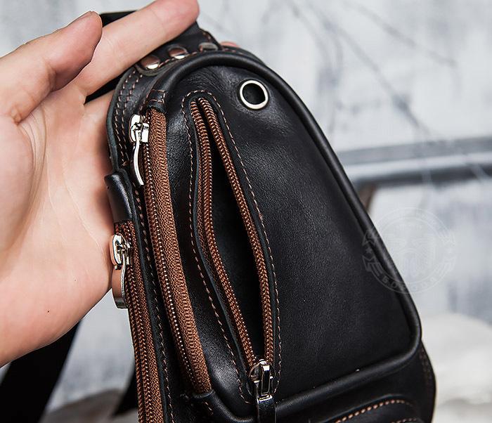 BAG415-1 Крутая мужская сумка рюкзак с одной лямкой, ручная работа фото 07