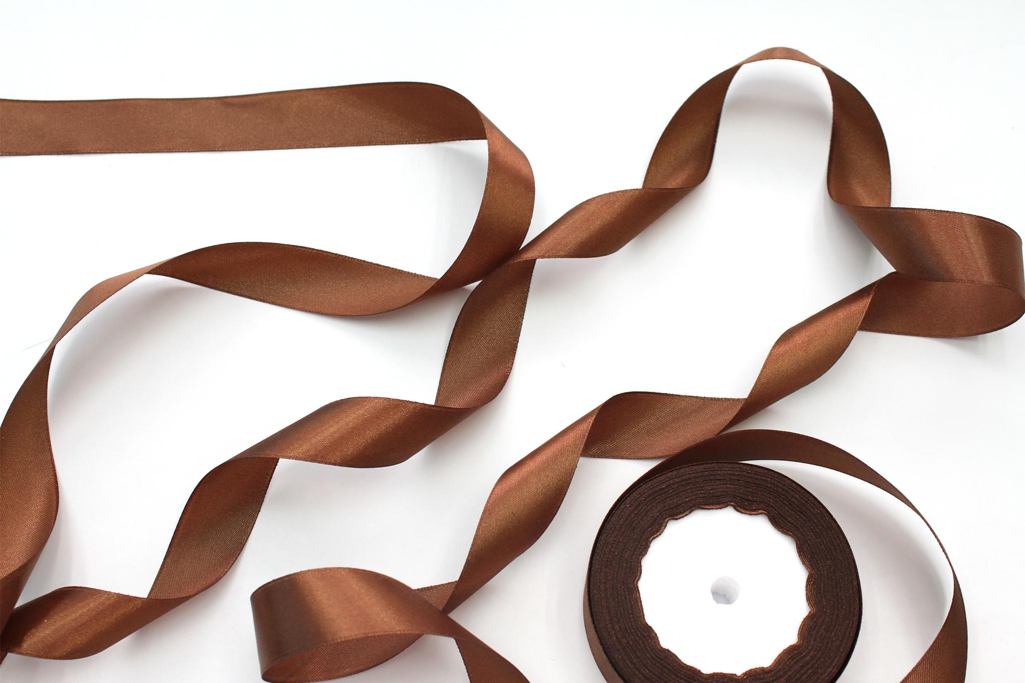 Лента атласная,2,5 см, коричневый