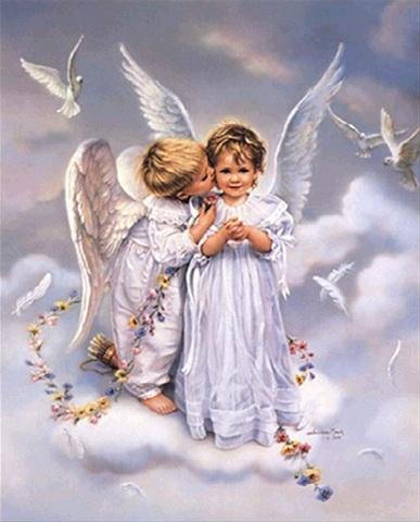 Алмазная Мозаика 20x30 Два ангелочка на облаке
