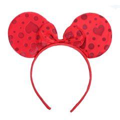 Ободок ушки Минни алый с красными сердечками