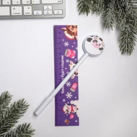 061-0197 Ручка со стикерами и линейкой «Новый год будет сладким», 30 л