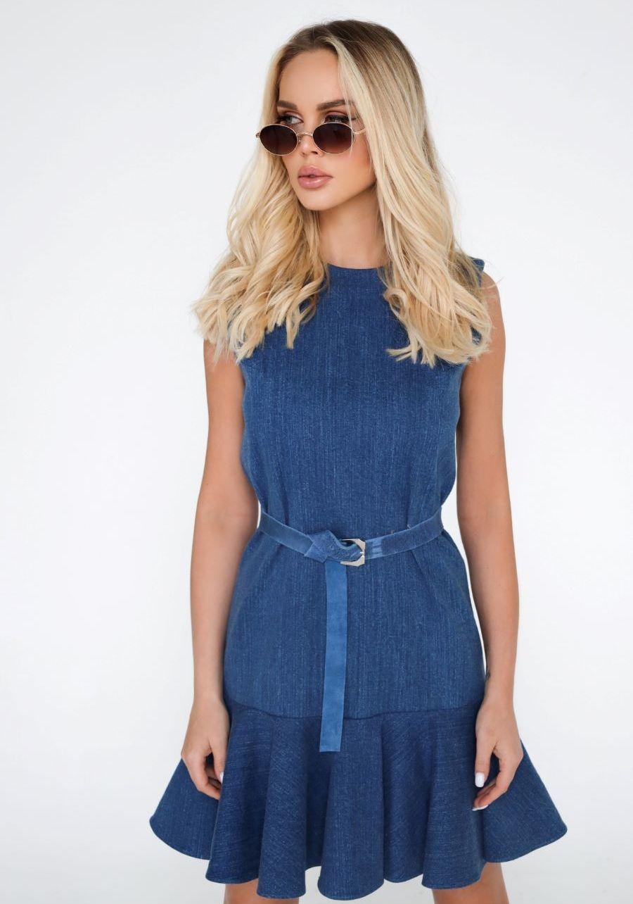 Платье джинсовое синее с широкой оборкой
