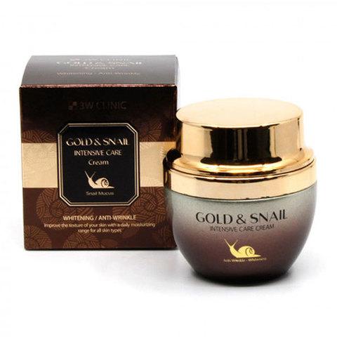 3W CLINIC ЗОЛОТО/ УЛИТКА Крем для лица Gold & Snail Intensive Care Cream, 55 гр