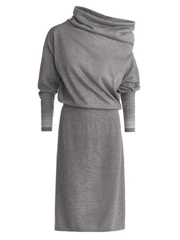 Женское платье светло-серого цвета из шерсти и вискозы - фото 1