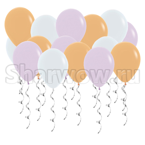 Воздушные шары под потолок Ассорти сирень и кремовый