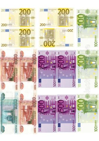Печать на сахарной бумаге, Рубли, Евро
