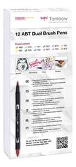 Набор маркеров Tombow ABT Dual brush pens, пастельные тона, 12 цветов