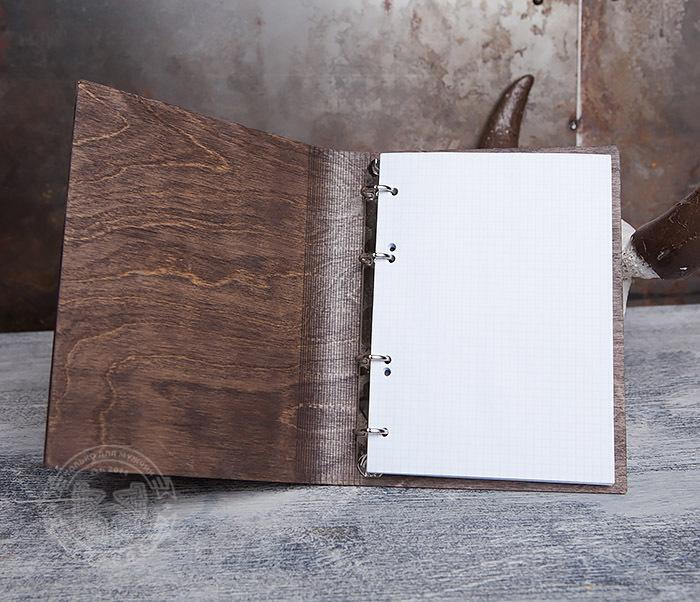 BC133-2 Оригинальный деревянный блокнот на кольцах фото 06