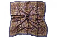 Итальянский платок из шелка коричневый 0004