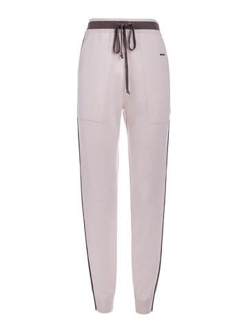 Женские брюки светло-розового цвета из шелка и кашемира - фото 1