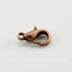 Замок - карабин 10х6 мм (цвет - античная медь), 5 штук