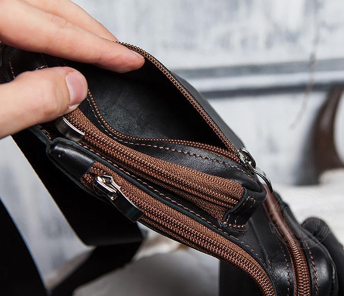 BAG415-1 Крутая мужская сумка рюкзак с одной лямкой, ручная работа фото 09