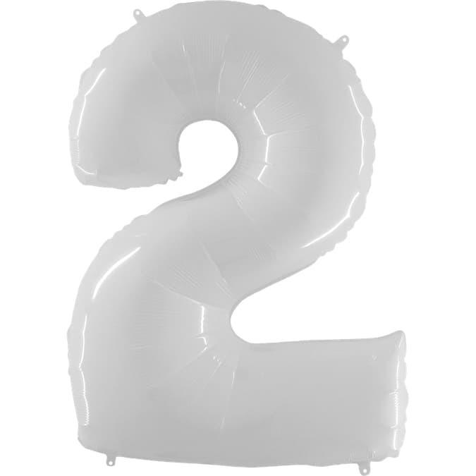 Фольгированная цифра 2, белый