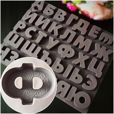 Силиконовая форма для шоколада АЛФАВИТ БОЛЬШОЙ с узором (коричневый силикон) (высота букв 50мм)
