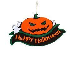 Банер фетровый, Happy Halloween, Тыква злая фетр, 38 х 23см, 1 шт.