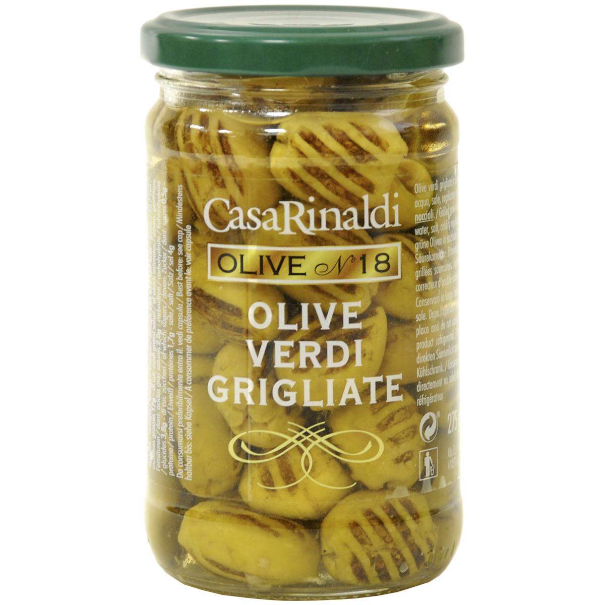 Оливки Casa Rinaldi зеленые без косточки жареные на гриле