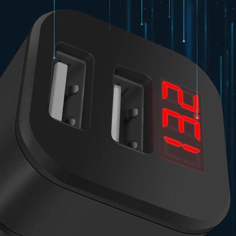Автомобильное зарядное устройство с цифровым дисплеем 2 USB, указатель напряжения