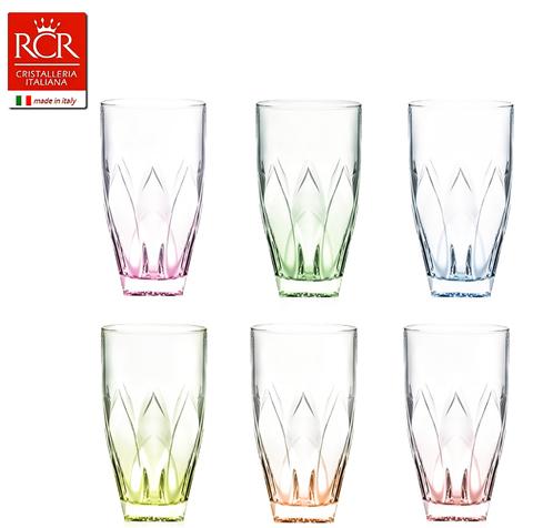Набор стаканов для воды цветные RCR Ninphea 330 мл, 6 шт