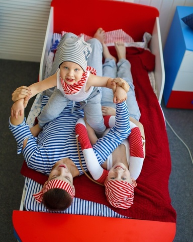 Детская кровать - корабль с подъемным механизмом морская тема