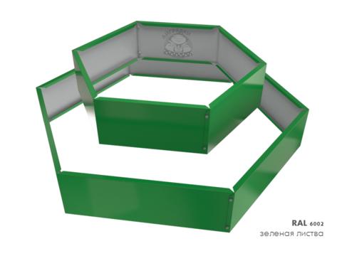 Клумба многоугольная оцинкованная 2 яруса  RAL 6002 Зеленая листва