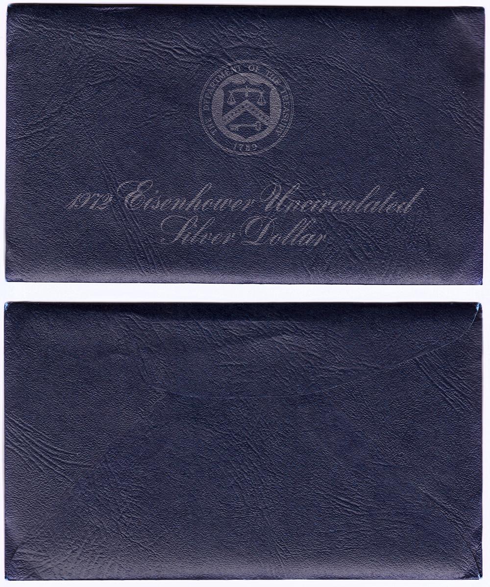 1 доллар 1972 (S) США Эйзенхауэр (лунный) с жетоном UNC (в родном конверте)