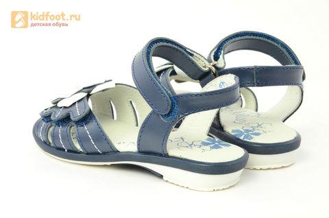 Детские босоножки Котофей 522059-21 из натуральной кожи, для девочки, синие. Изображение 7 из 13.