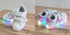 Обувь дет. № 4 Кроссовки Полосатые Светящиеся Бело-Розовые