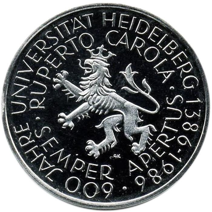 5 марок. 600 лет Гейдельбергскому университету. (D) Германия. Медноникель. 1986 г. PROOF