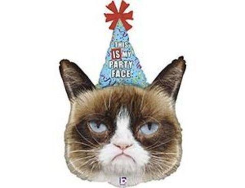 Фольгированный шар Сердитая Кошка в колпаке
