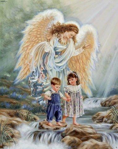 Алмазная Мозаика 20x30 Ангел-хранитель оберегает детей на водопаде