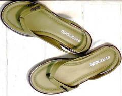 Женские кожаные сандали босоножки летние Evromoda 454-411 Olive.