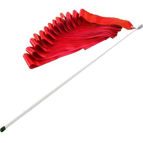 Лента гимнастическая 6м с палочкой 57см красная AB220