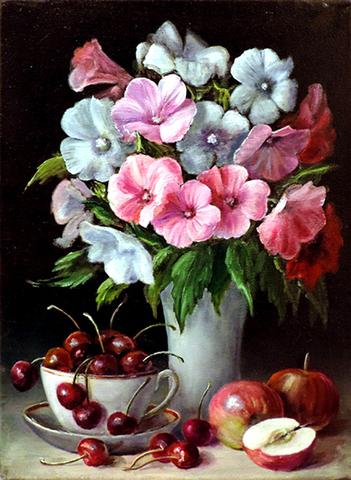 Алмазная Мозаика 38x28 Натюрморт с вишней и яблоками (арт. K1659)