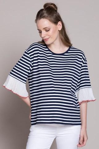 Блузка для беременных 10201 синий/белый