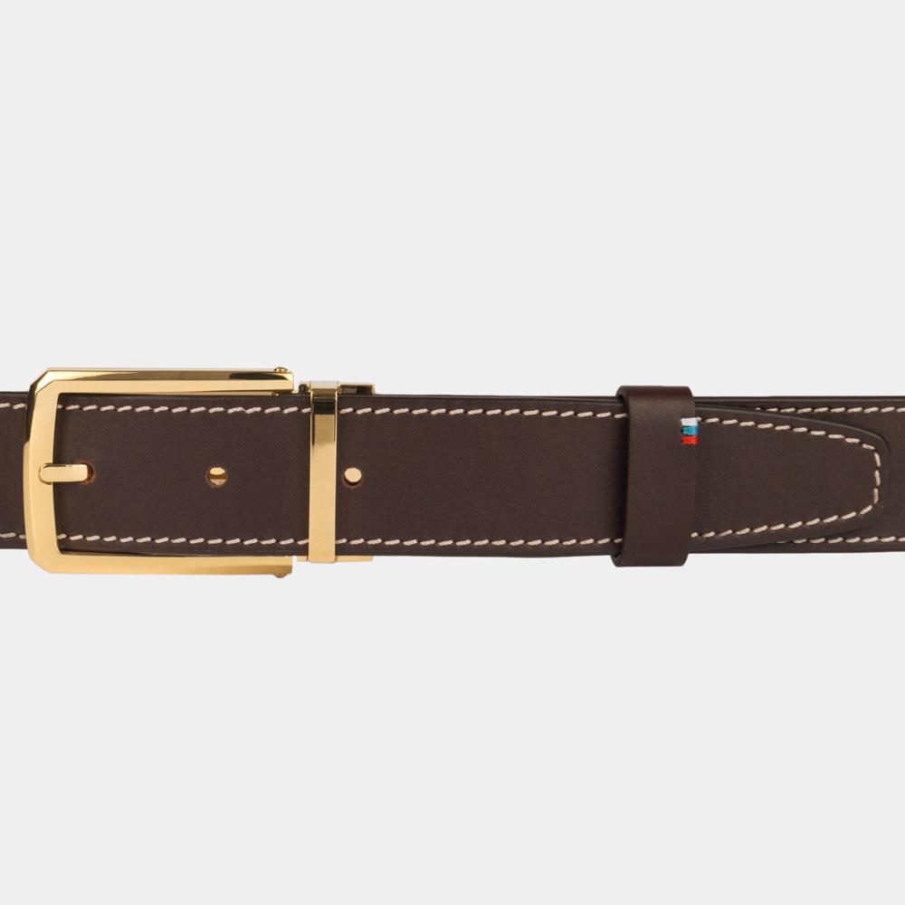 Ремень кожаный мужской темно-коричневого цвета ширина 35мм с золотой пряжкой