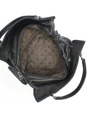 Черная сумка из комбинированной кожи