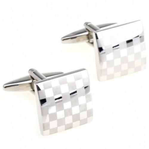 Мужские запонки из ювелирной стали с шахматным рисунком Spikes cl-108