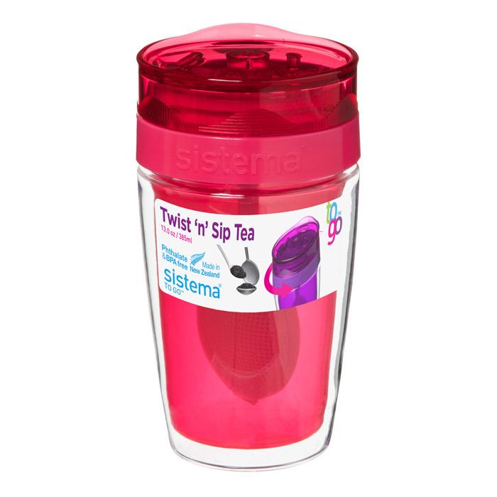 Термокружка для чая Sistema 370 мл, цвет Розовый