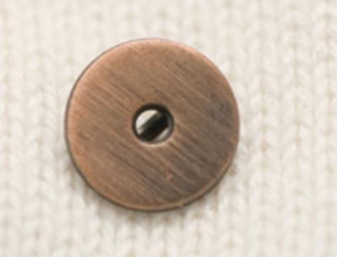 Пуговица медная, плоская, на ножке, с отверстием посередине, 12 мм