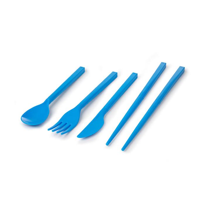 """Набор столовых приборов в футляре Sistema """"TO GO"""" 4пр., цвет Голубой"""