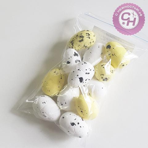 Яйцо разноцветное из пенопласта, 2*3 см, 12 шт.